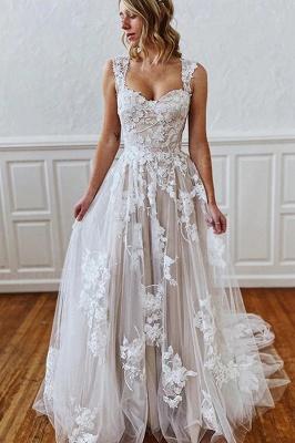 Schlichtes Brautkleid A Linie Spitze | Hochzeitskleider Günstig Online_1
