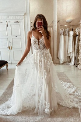 Simple wedding dresses lace | Wedding dresses A line cheap_1