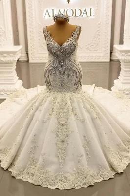 Luxury Weiße Hochzeitskleider Meerjungfrau Spitze Brautkleider Online_1