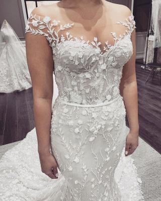 Schöne Hochzeitskleider Meerjungfrau Spitze   Brautkleid Cream_4
