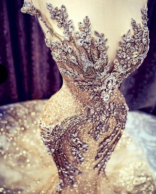 Extravagant evening dresses gold | Long glitter prom dresses_3