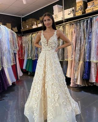 Romantice V Neck A Line Floor Length Lace Long Prom Dresses Evening Gowns_4