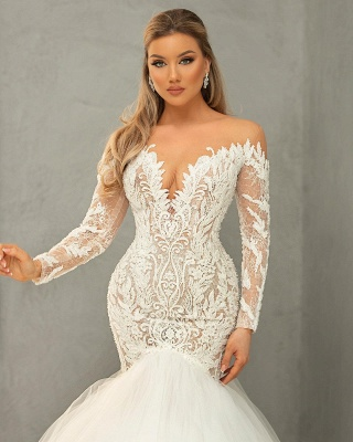 Mermaid wedding dress with lace | Tulle wedding dresses with sleeves_3