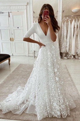 Wedding Dresses V Neck With Sleeves | Wedding dresses A line lace_1