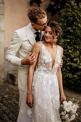 Sheer wedding dress V neckline | Wedding dresses a line lace_2