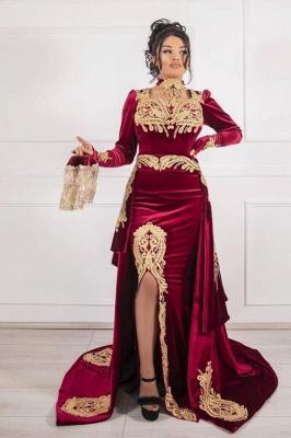 Weinrot Abendkleider Velvet | Abendkleid Lang Günstig Online_1