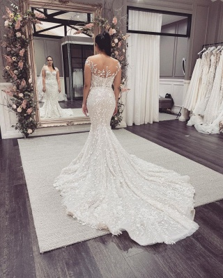 Beautiful wedding dresses mermaid lace | Cream wedding dress_5