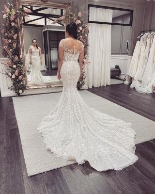 Schöne Hochzeitskleider Meerjungfrau Spitze | Brautkleid Cream_5