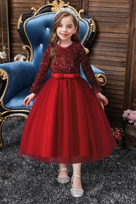 Burgundy flower girl dresses with sleeves | Flower girl dresses