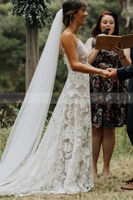 Schlichtes Hochzeitskleid A Linie Spitze | Elegante Brautkleider Online_1