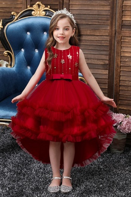 Princess flower girl dresses red | Children's wedding dresses