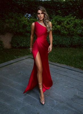 Red Evening Dresses Long Cheap | Simple prom dress_1