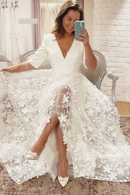 Wedding Dresses V Neck With Sleeves | Wedding dresses A line lace_2