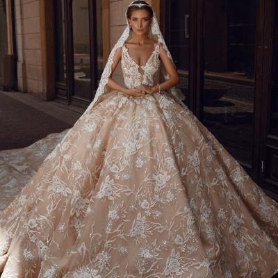 Extravagante Brautkleider Prinzessin | Spitze Hochzeitskleider Glitzer_2
