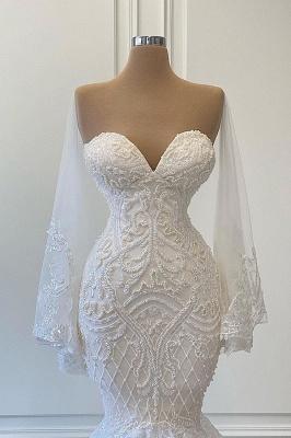 Schöne Brautkleider Meerjungfrau | Spitze Hochzeitskleider mit Ärmel_2