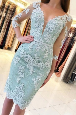Mint Cocktail Dresses Short Cheap | Evening dresses with sleeves_1