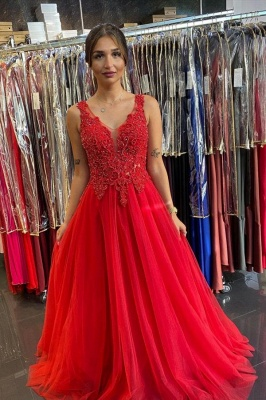 Evening dresses long V neckline | Red prom dresses cheap