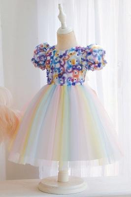 Schöne Blumenmädchenkleider Günstig | Tüll Kinder Hochzeitskleider_6