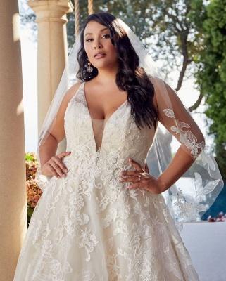 Brautkleider Große Größe A Linie | Übergroße Hochzeitskleider Spitze_3