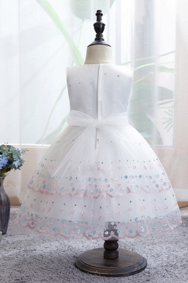 Weiße Blumenmädchenkleider Günstig | Tüll Kinder Hochzeitskleider_6