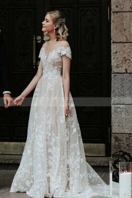 Schlichtes Hochzeitskleid Spitze | Brautkleider mit Ärmel_4