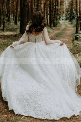 Designer Wedding Dresses A Line Lace | Wedding dresses with sleeves_3