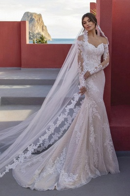 Designer wedding dresses lace | Wedding dresses mermaid with sleeves_1