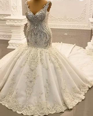 Luxury Weiße Hochzeitskleider Meerjungfrau Spitze Brautkleider Online_6