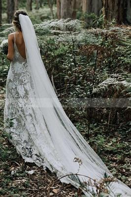 Schlichtes Hochzeitskleid A Linie Spitze | Elegante Brautkleider Online_3