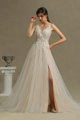 Simple wedding dress tulle | Wedding dresses A line lace_1