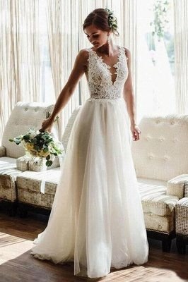 Simple wedding dress A line with lace | Wedding dresses tulle_1