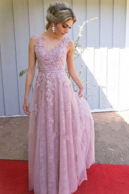 Evening dress long pink | Prom dresses lace cheap_1