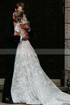 Schlichtes Hochzeitskleid Spitze | Brautkleider mit Ärmel_2