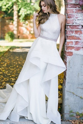 Satin wedding dress A Line | Simple wedding dress online_3