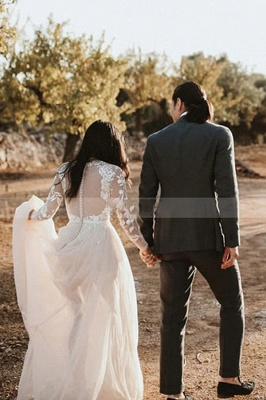 Beautiful wedding dresses with sleeves | A line lace wedding dress_3