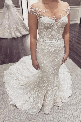 Beautiful wedding dresses mermaid lace | Cream wedding dress_1