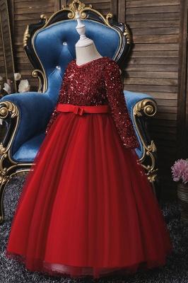 Weinrot Blumenmädchenkleider mit Ärmel | Kleider für Blumenmädchen_1