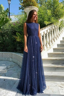 Navy Blue Sparkly Sexy Slim Floor Length Prom Dresses_1