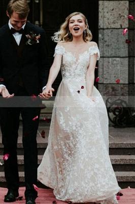 Schlichtes Hochzeitskleid Spitze | Brautkleider mit Ärmel_3