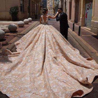 Extravagante Brautkleider Prinzessin | Spitze Hochzeitskleider Glitzer_4
