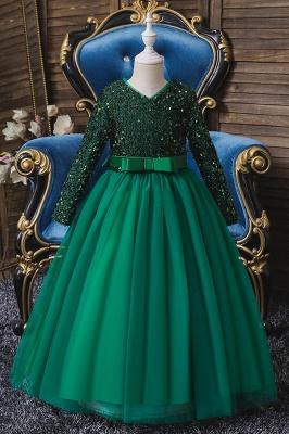 Weinrot Blumenmädchenkleider mit Ärmel | Kleider für Blumenmädchen_4