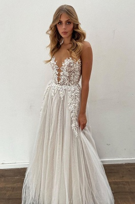 Brautkleid A Linie Spitze | Hochzeitskleider Online kaufen_3