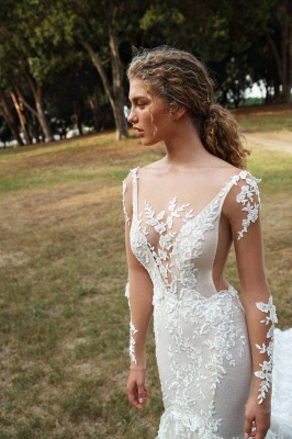 Schicke Brautkleider Mit Ärmel | Hochzeitskleider Meerjungfrau Spitze_2