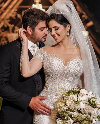 Luxus Brautkleider mit Ärmel | Hochzeitskleider A Linie Spitze_7