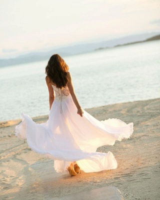 Simple wedding dress with lace | Chiffon wedding dresses_3