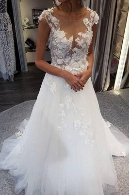 Schöne Brautkleider A Linie | Tüll Hochzeitskleider mit Spitze_3
