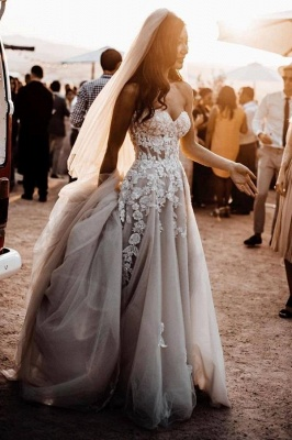 Elegant boho wedding dresses | Wedding dresses a line lace