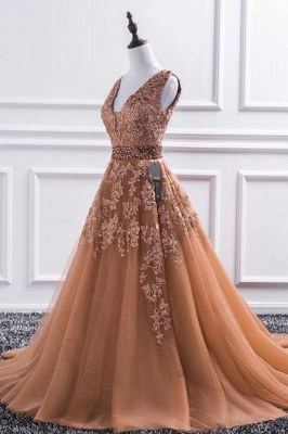 Elegant Evening Dress Long V Neck | Ball gowns with lace_1