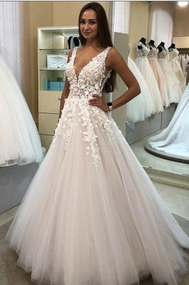 Wedding dresses V neckline | Wedding dresses A line lace