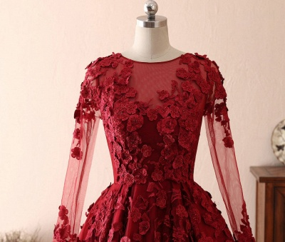 Elegant evening dresses with lace sleeves | Prom dresses long red_4
